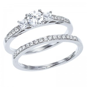 14K White Gold Qpid .66 Ct Diamond Three Stone Bridal Ring Set