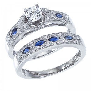 14K White Gold Qpid .50 Ct Diamond and Marquise Sapphire Bridal Ring Set