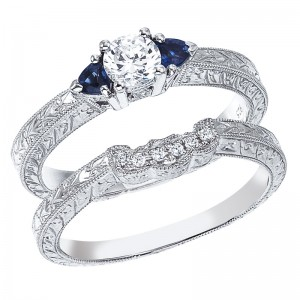 14K White Gold Qpid .45 Ct Diamond and 3mm Sapphire Bridal Ring Set