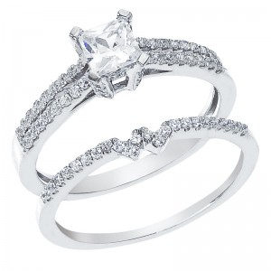 14K White Gold Qpid .71 Ct Diamond Double Row Princess Bridal Ring Set
