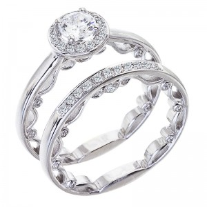 14K White Gold Qpid .94 Ct Diamond Halo Bridal Ring Set