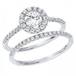 14K White Gold Qpid .90 Ct Diamond Halo Bridal Ring Set
