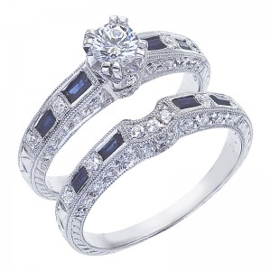14K White Gold .75 Ct Diamond and .60 Ct Baguette Sapphire Bridal Ring Set