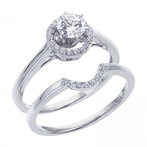 14K White Gold Qpid .63 Ct Diamond Bridal Ring Set