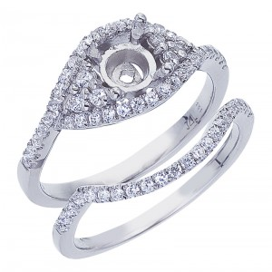14K White Gold Qpid .62 Ct Semi Mount Bridal Ring Set