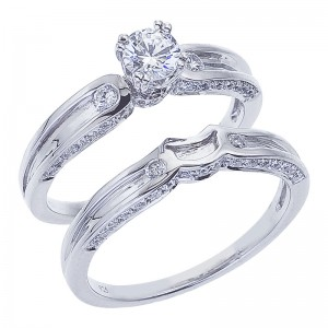 14K White Gold Qpid .75 Ct Diamond Bridal Ring Set