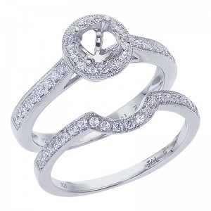 14K White Gold Qpid .30 Ct Diamond Halo Semi Mount Bridal Ring Set