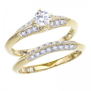 14K Yellow Gold Qpid .67 Ct Diamond Shoulder Bridal Ring Set