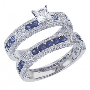 14K White Gold Qpid .77 Ct Diamond and 1.38 Ct Sapphire Bridal Ring Set