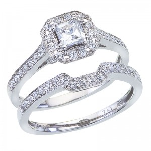 14K White Gold Qpid .95 Ct Diamond Princess Bridal Ring Set