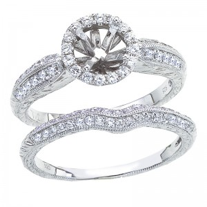 14K White Gold Qpid .37 Ct Diamond Halo Semi Mount Bridal Ring Set