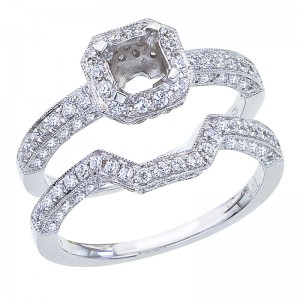 14K White Gold Qpid .68 Ct Halo Semi Mount Bridal Ring Set