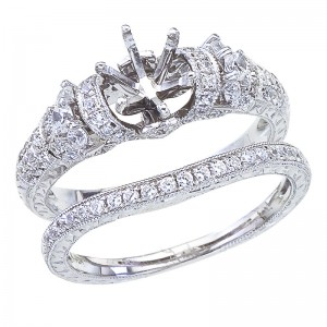 14K White Gold Qpid .59 Ct Diamond Bold Semi Mount Bridal Ring Set