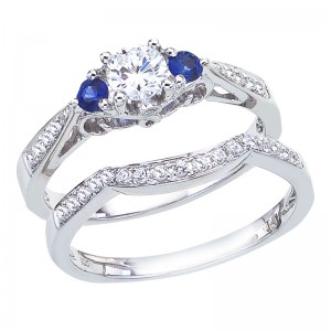 14K White Gold Qpid Diamond and  Sapphire .75 Ct Bridal Ring Set
