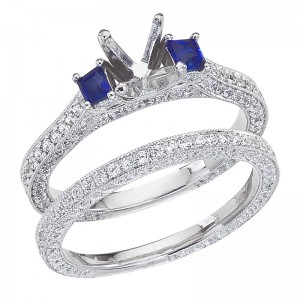 14K White Gold Qpid .85 Ct Diamond and Cushion Sapphire Bridal Ring Set