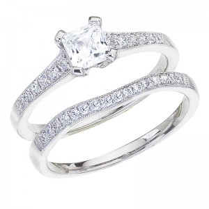 14K White Gold Qpid .65 Ct Diamond Princess Bridal Ring Set