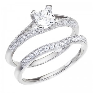 14K White Gold .65 Ct Diamond Princess Bypass Bridal Ring Set