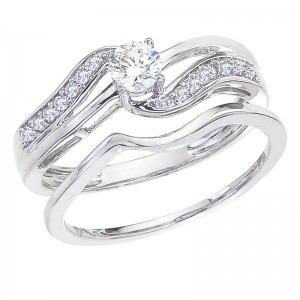 14K White Gold Qpid .40 Ct Diamond Bypass Bridal Ring Set