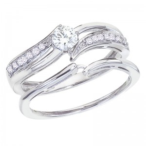 14K White Gold Qpid .40 Ct Diamond Interlocking Bridal Ring Set
