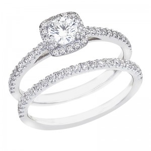 14K White Gold Qpid .85 Ct Diamond Halo Bridal Ring Set