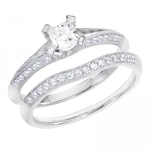 14K White Gold Qpid .68 Ct Diamond Princess Double Shoulder Bridal Ring Set