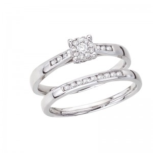 14K White Gold Qpid .33 Ct Diamond Cluster Princess Illusion and Channel Bridal