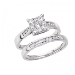 14K White Gold Qpid .75 Ct Diamond Cluster Princess Illusion and Channel Bridal