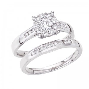 14K White Gold .75 Ct Diamond Cluster Qpid Bridal Illusion and Channel Ring Set