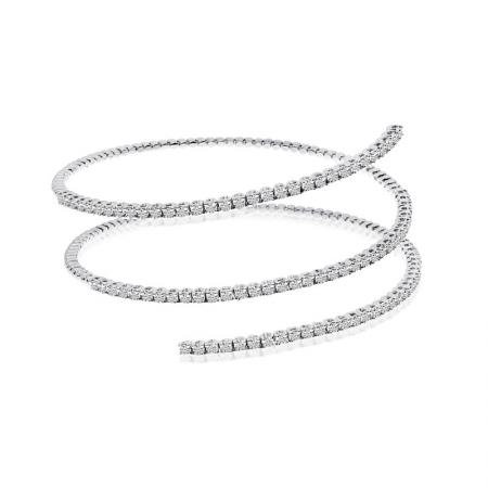 14K White Gold 3-Row Flexible Bracelet