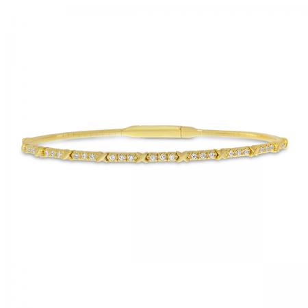 14K Yellow Gold XO Flexible Bangle Bracelet
