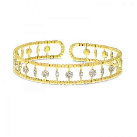 14K Yellow Gold Diamond Triple Row Flexible Cuff Bracelet
