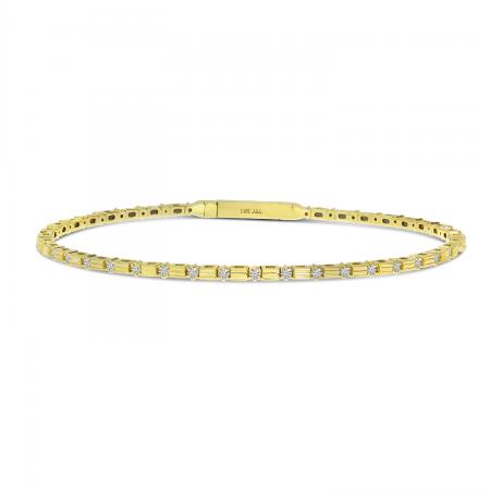14K Yellow Gold Diamond Bar Flexible Bracelet