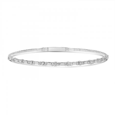 14K White Gold Three Diamond Flexible Bracelet