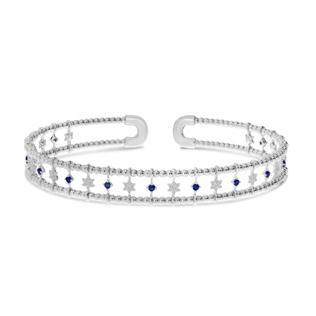 14K White Gold 3-Row Sapphire and Diamond Star Flexible Cuff Bracelet