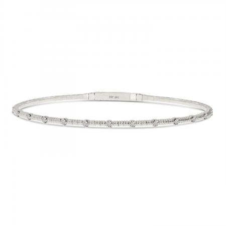 14K White Gold Diamond Flexible Bracelet