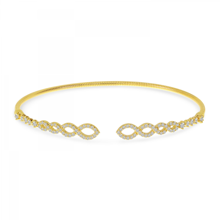 14K Yellow Gold Diamond Flex Infinity Bangle Bracelet