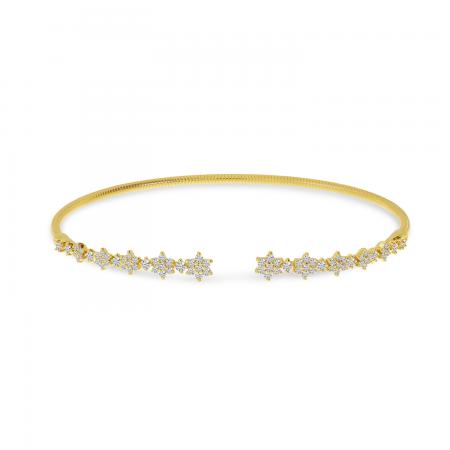 14K Yellow Gold Diamond Flex Floral Bangle Bracelet