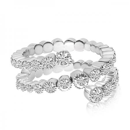 14K White Gold 3-Row Diamond Spryng Ring