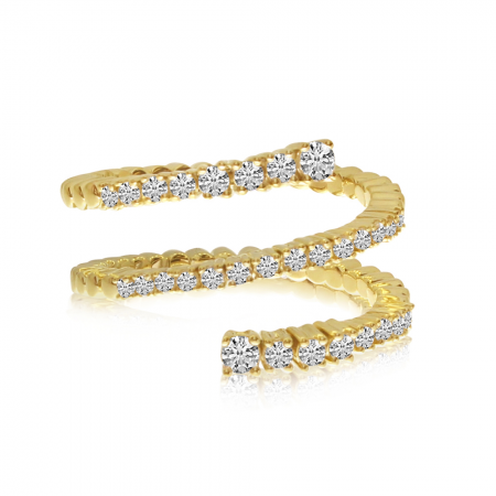 14K Yellow Gold Diamond Spryng Ring