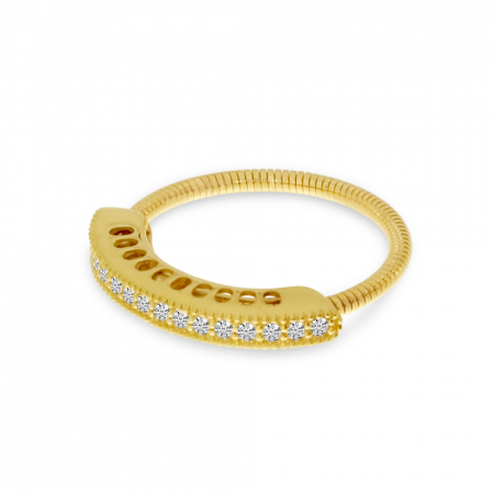 14K Yellow Gold Diamond Stretch Ring