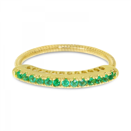 14K Yellow Gold Emerald Stretch Ring