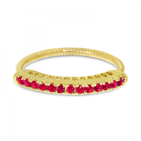 14K Yellow Gold Ruby Stretch Ring