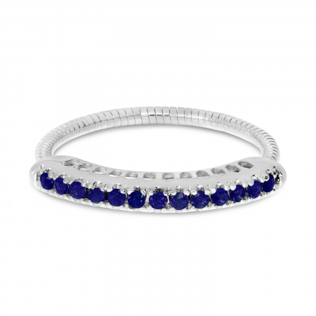 14K White Gold Sapphire Stretch Ring