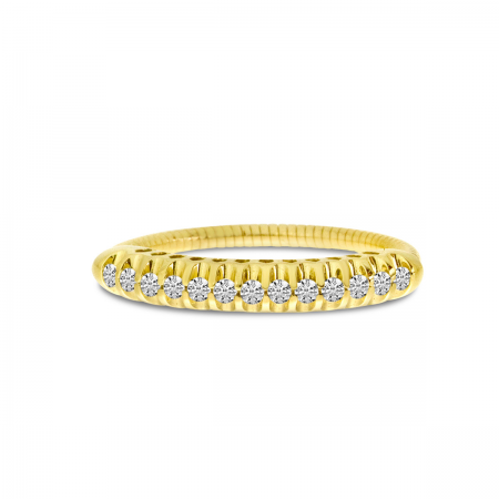 14K Yellow Gold Pave Diamond Stretch Ring