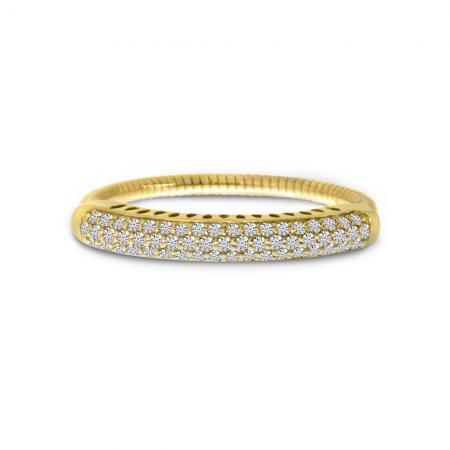 14K Yellow Gold Large Pave Diamond Stretch Ring