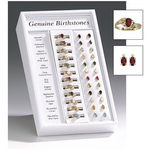 12 Month Ring and Earring Birthstone Display