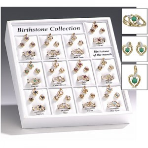 12 Month Heart Ring, Earring and Pendant Birthstone Display
