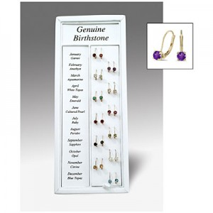 12 Month Lever-Back Birthstone Earrings Display