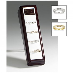 14K White and Yellow Gold Diamond Channel Bands Display
