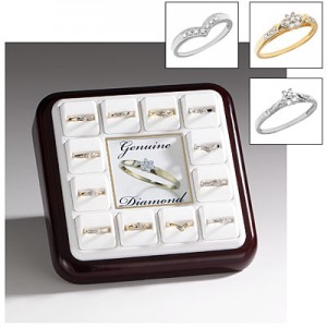 10K White and Yellow Gold Promise Ring Display